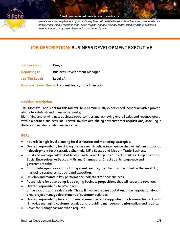 Job Advert Business Development Executive D Light